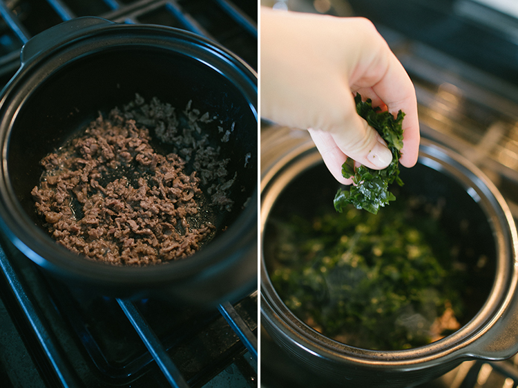 Saute beef and add seaweed to pot