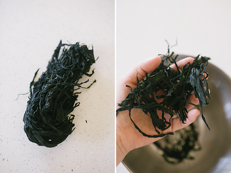 Cut dried seaweed
