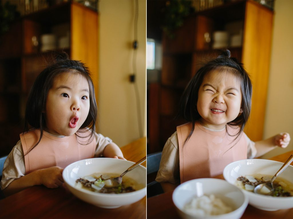 Toddler eating korean beef radish soup