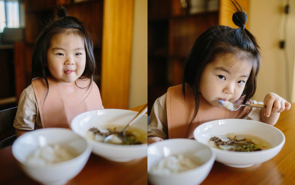 Toddler eating Korean Beef Radish Soup 2