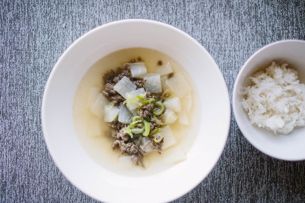 Korean Radish Beef Soup and Rice